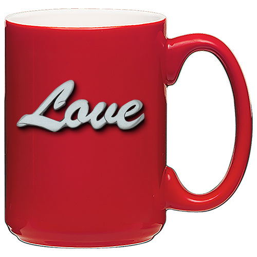 pewter Love script coffee mug for valentines day