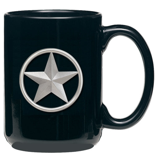 lone star, western, black coffee mug