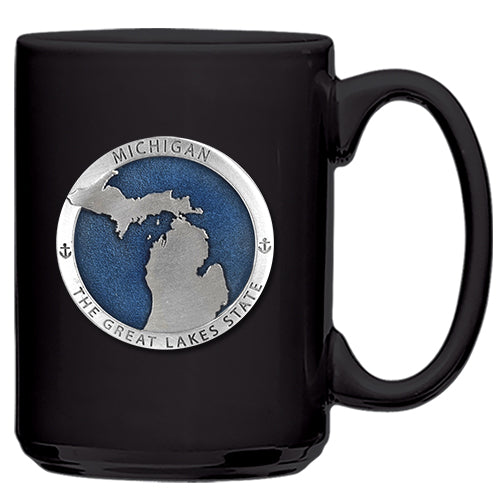 Michigan Map Great  Lakes State Black Coffee Mug