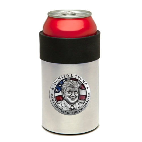 DONALD TRUMP W/ FLAG CAN COOLER