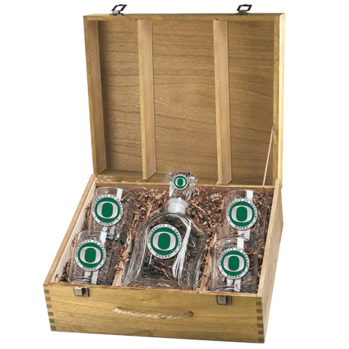UNIVERSITY OF OREGON CAPITOL DECANTER BOX SET