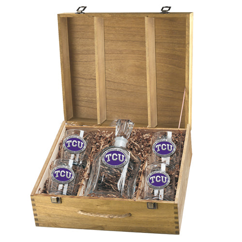 TEXAS CHRISTIAN UNIVERSITY CAPITOL DECANTER BOX SET