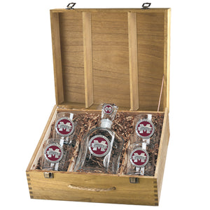 "MISSISSIPPI STATE UNIVERSITY ""M"" LOGO CAPITOL DECANTER BOX SET"