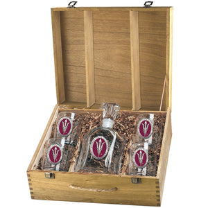 ARIZONA STATE UNIVERSITY PITCH FORK LOGO CAPITOL DECANTER BOX SET