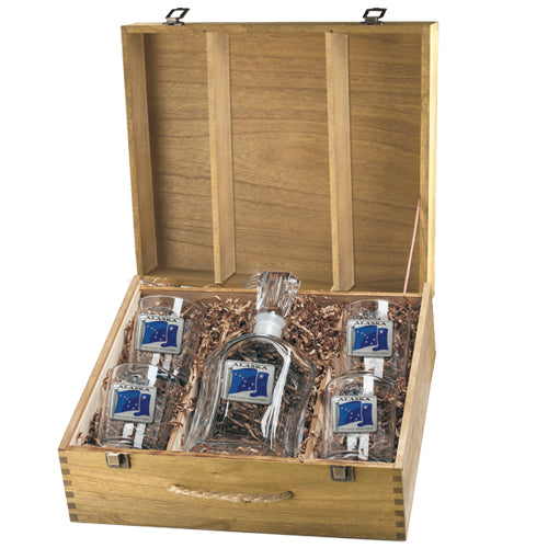 ALASKA FLAG CAPITOL DECANTER BOX SET