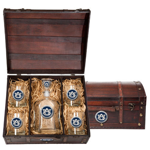 AUBURN UNIVERSITY CAPITOL DECANTER CHEST SET