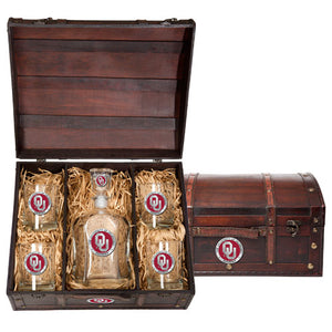 UNIVERSITY OF OKLAHOMA CAPITOL DECANTER CHEST SET