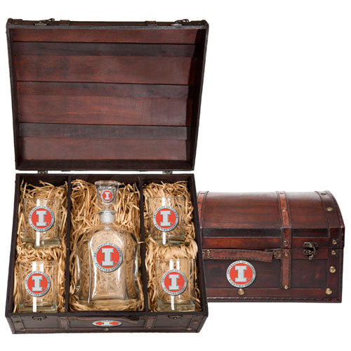 UNIVERSITY OF ILLINOIS CAPITOL DECANTER CHEST SET