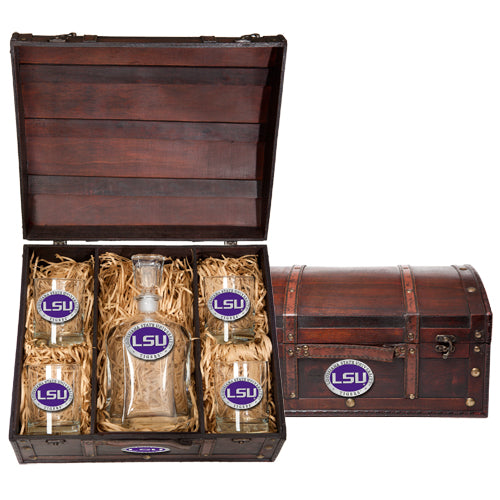 LSU LOUISIANA STATE UNIVERSITY CAPITOL DECANTER CHEST SET