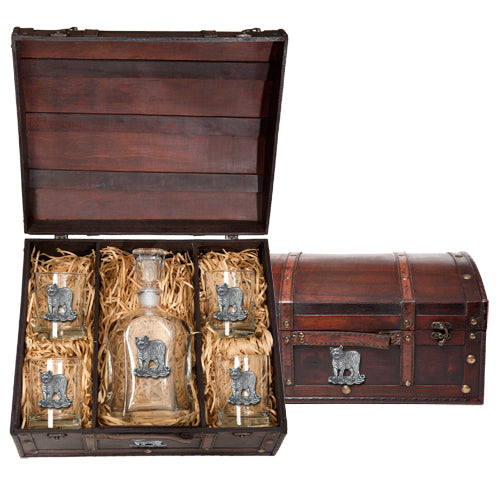 TIGER CAPITOL DECANTER CHEST SET