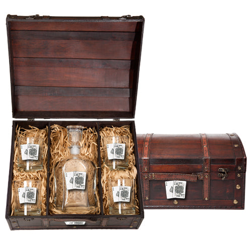 BLACK JACK CAPITOL DECANTER CHEST SET