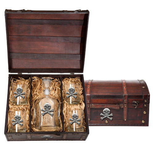 SKULL AND BONES CAPITOL DECANTER CHEST SET