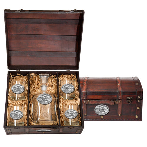 MOTORCYCLE CAPITOL DECANTER CHEST SET
