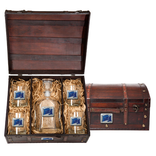 ALASKA FLAG CAPITOL DECANTER CHEST SET
