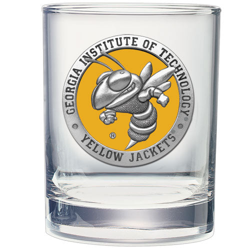 GEORGIA TECH UNIVERSITY YELLOW JACKETS DOUBLE OLD FASHIONED GLASS