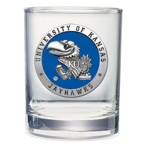 UNIVERSITY OF KANSAS  DOUBLE OLD FASHIONED GLASS
