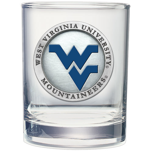 WEST VIRGINIA UNIVERSITY WV LOGO DOUBLE OLD FASHIONED GLASS