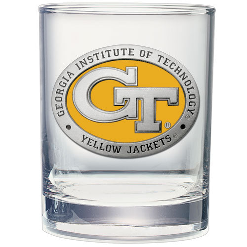 GEORGIA TECH UNIVERSITY GT LOGO DOUBLE OLD FASHIONED GLASS