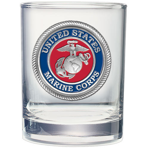 MARINE CORPS DOUBLE OLD FASHIONED GLASS
