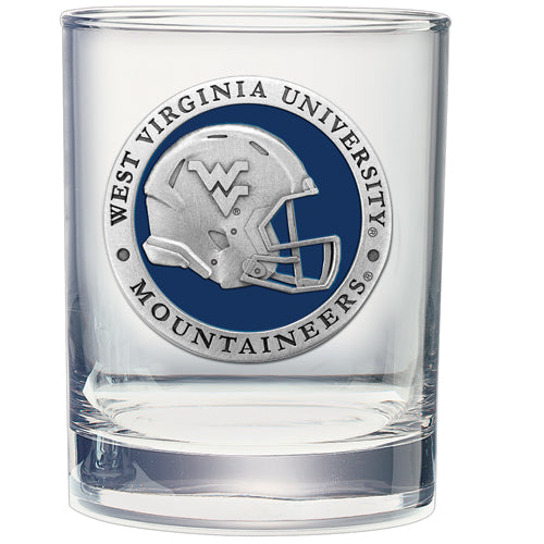 WEST VIRGINIA UNIVERSITY HELMET DOUBLE OLD FASHIONED GLASS