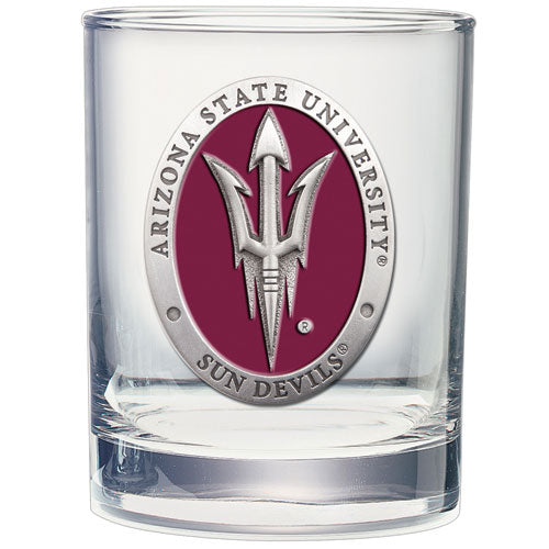 ARIZONA STATE UNIVERSITY PITCH FORK LOGO DOUBLE OLD FASHIONED GLASS