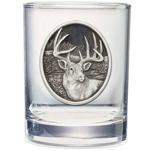 WHITETAIL DEER DOUBLE OLD FASHIONED GLASS