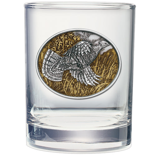 RUFFED GROUSE DOUBLE OLD FASHIONED GLASS