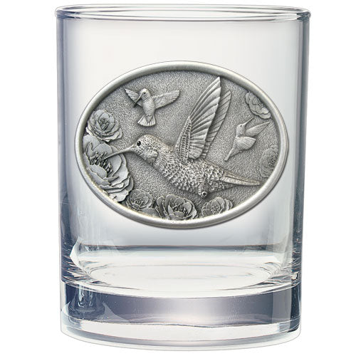 HUMMINGBIRDS DOUBLE OLD FASHIONED GLASS