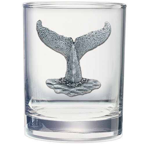Whale Tail Ornament Double Old Fashioned Glass