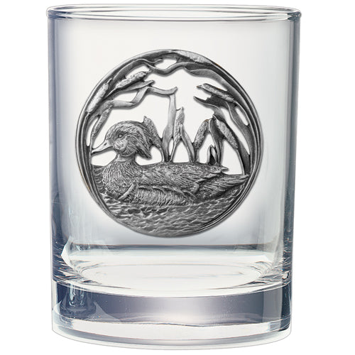 WOOD DUCK DOUBLE OLD FASHIONED GLASS