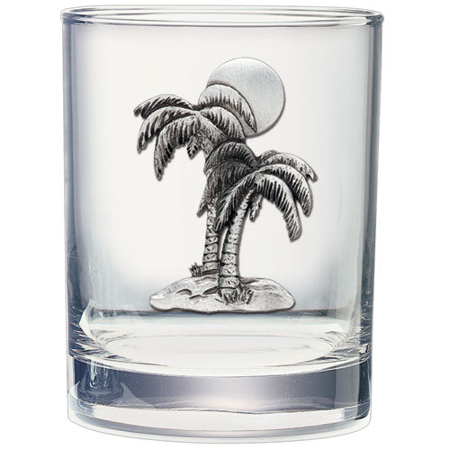 PALM TREE DOUBLE OLD FASHIONED GLASS