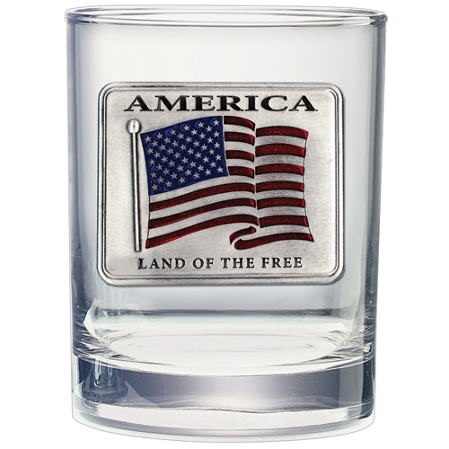 US FLAG DOUBLE OLD FASHIONED GLASS