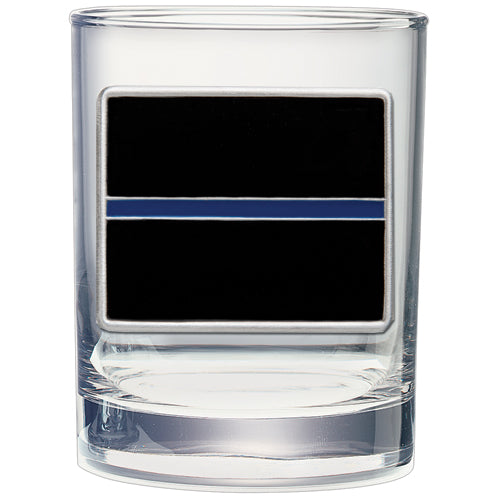 THIN BLUE LINE DOUBLE OLD FASHIONED GLASS