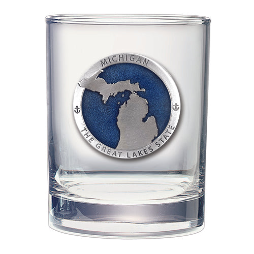 Michigan Map Great  Lakes State Double Old Fashioned Glass