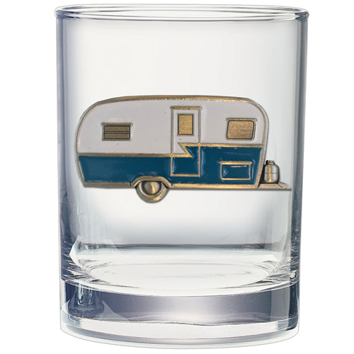 VINTAGE CAMPER DOUBLE OLD FASHIONED GLASS