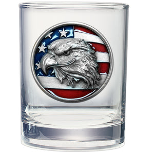 EAGLE HEAD W/ FLAG DOUBLE OLD FASHIONED GLASS