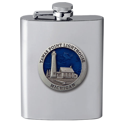 Michigan Tawas Point Lighthouse Flask