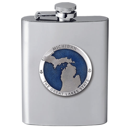 Michigan Map Great  Lakes State Flask