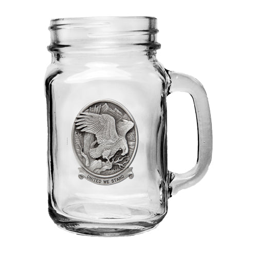 BALD EAGLE W/ UNITED WE STAND MASON JAR MUG