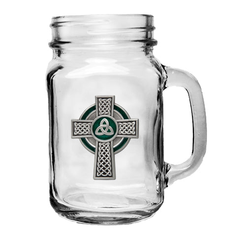 CELTIC CROSS MASON JAR MUG