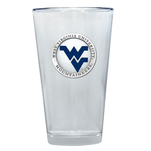 WEST VIRGINIA UNIVERSITY WV LOGO PINT GLASS