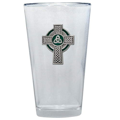 CELTIC CROSS PINT GLASS