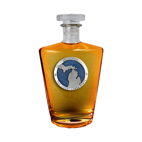 Michigan Map Great  Lakes State Royal Decanter