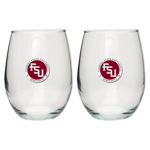 FLORIDA STATE UNIVERSITY FSU LOGO STEMLESS GOBLETS (SET OF 2)