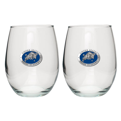 UNITED STATES NAVAL ACADEMY STEMLESS GOBLET (SET OF 2)