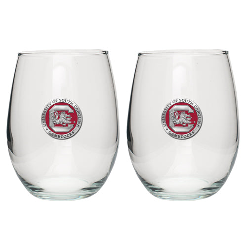 UNIVERSITY OF SOUTH CAROLINA FIGHTING GAMECOCKS LOGO STEMLESS GOBLETS (SET OF 2)