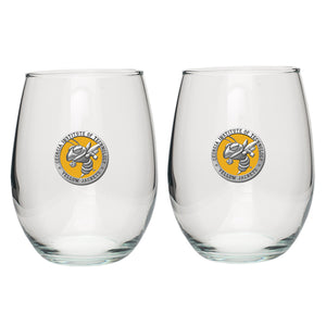 GEORGIA TECH UNIVERSITY YELLOW JACKETS STEMLESS GOBLETS (SET OF 2)