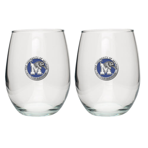 MEMPHIS TIGERS STEMLESS GOBLET (SET OF 2)