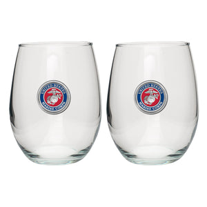 MARINE CORPS STEMLESS GOBLET (SET OF 2)
