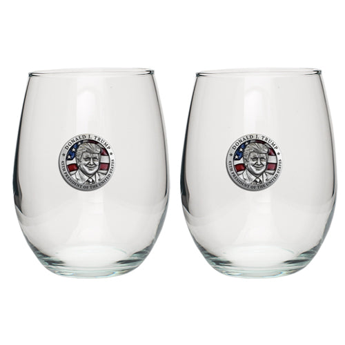 DONALD TRUMP W/ FLAG STEMLESS GOBLET (SET OF 2)